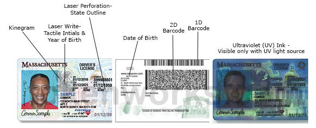 Massachusetts driver's license security features